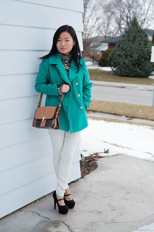green pea coat striped turtleneck white cords