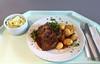 Lumberjack steak with fried onions, red wine sauce & roast potatoes / Gebratenes Holzfällersteak mit  geschmorten Zwiebeln, Rotweinjus & Röstkartoffeln