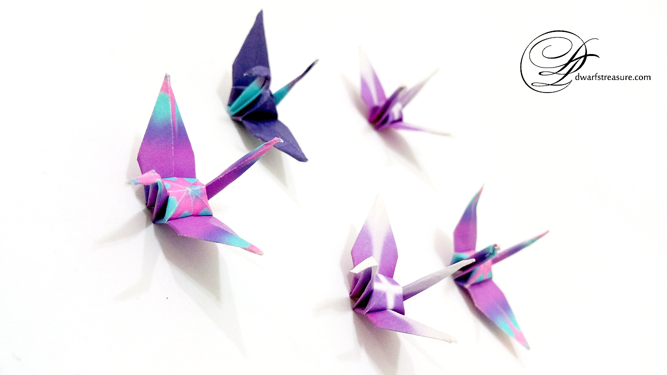 purple paper craft origami crane