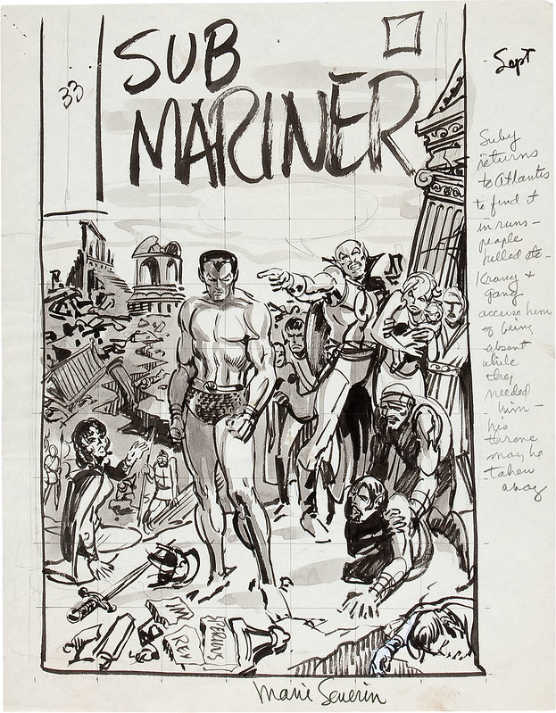 Marie Severin Sub-Mariner #33 Cover Preliminary Original Art 1970