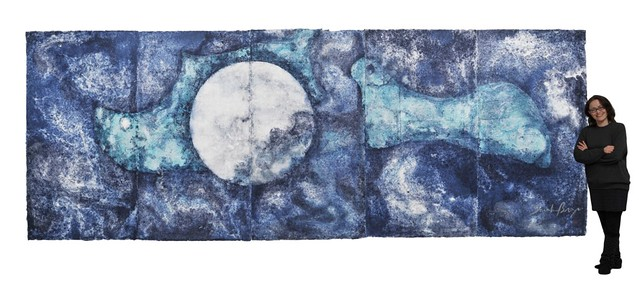 Oceanic Moon, luminescent washi paperwork, 198 x 530 cm, 2011