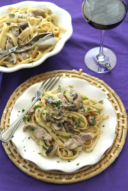 Pork, Mushroom & Fettuccine in Garlic Wine Sauce