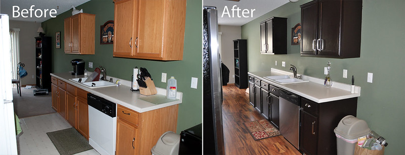 Kitchen Before And After Gel Staining Of Cabinets