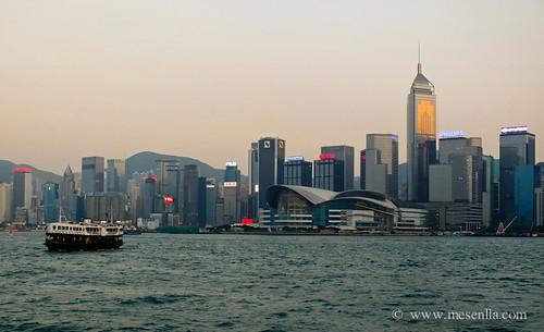Rascacielos en la isla de Hong Kong
