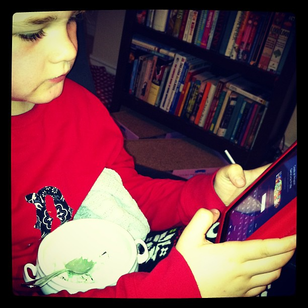 Mint chip ice cream, chocolate milk, Kindle Fire. Seven seems to be off to a fair start.