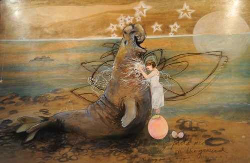 Healing faery and male elephant seal, stars, eggs, energy, love, wings, blubber, painting, Middle Path Cafe, Northern Lights Blvd, Anchorage, Alaska, USA by Wonderlane