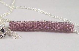 Purple Beaded Bar Necklace