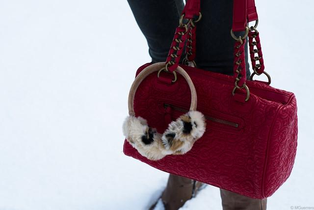 red purse leopard print earmuffs