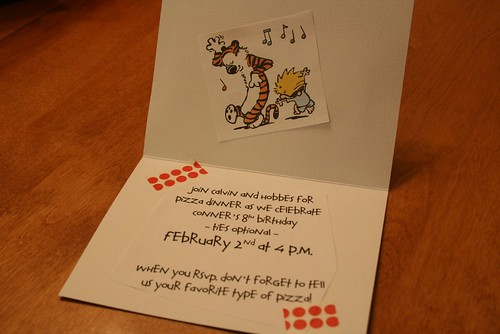 The Calvin & Hobbes invite - family - inside