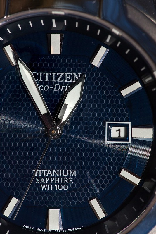 Citizen Eco Drive Titanium Sapphire Close-Up