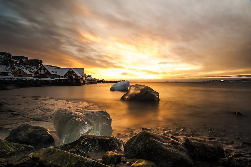 Sunset at the old colonial harbor in Nuuk
