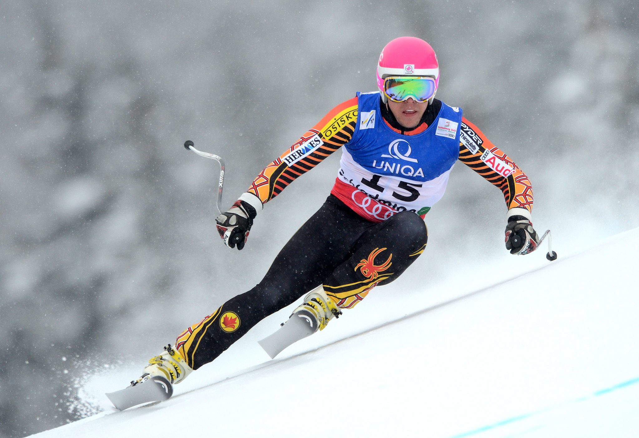 Ben Thomsen looks ahead to the next turn in the men's downhill at the 2013 world championships in Schladming, Austria.