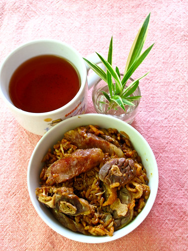 IMG_0459 腊味饭, Chinese sausage and preserved duck rice , tea for breakfast