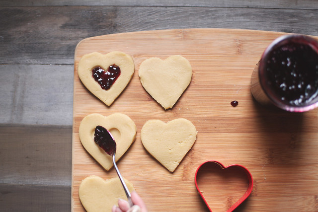 valentine thumbprint cookies