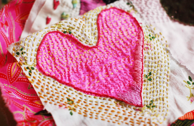 Kantha Heart by Hanna Andersson #embroidery #broderi