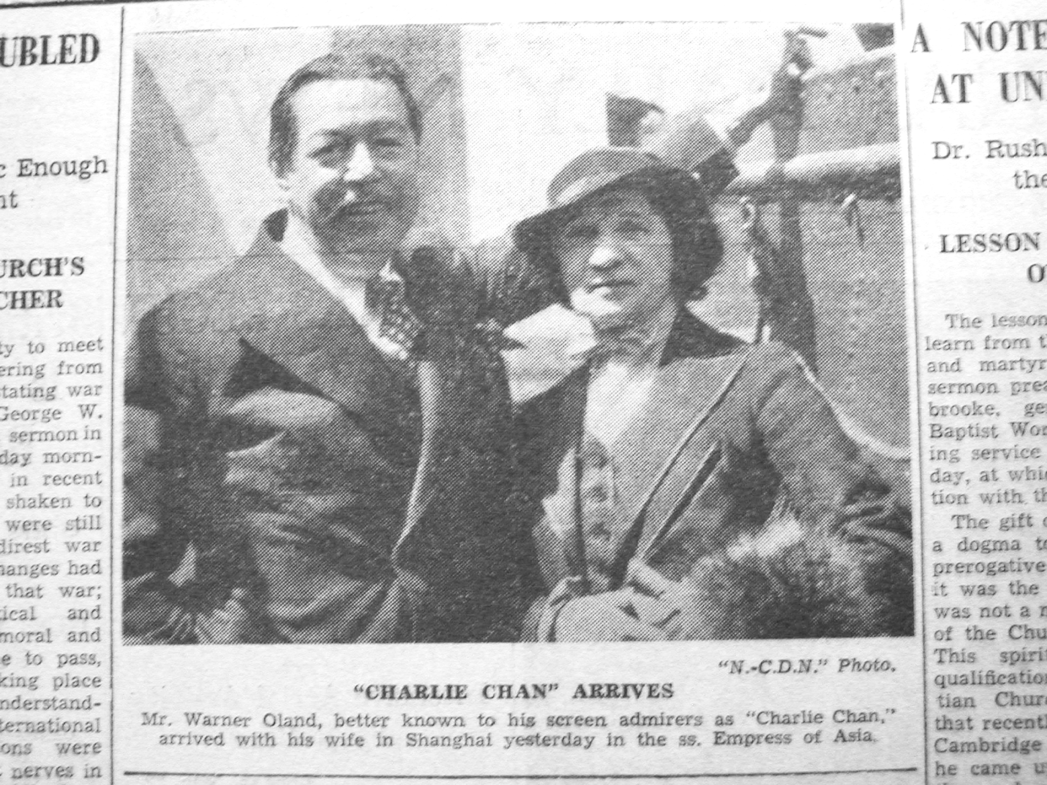 20130214 Warner Oland and wife arriving shanghai March 23,1936