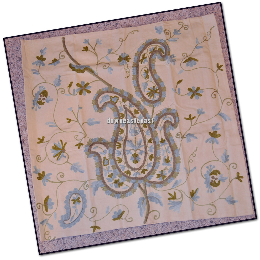 Pottery Barn Paisley Crewel Embroidered Duvet Cover King
