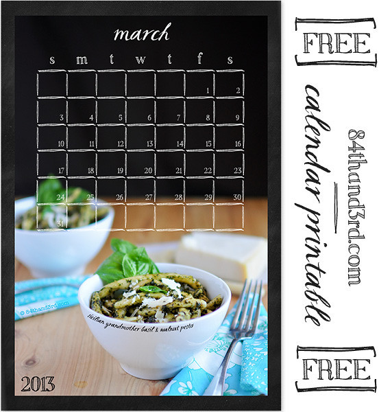 March 2013 Calendar Printable: Basil & Walnut Pesto