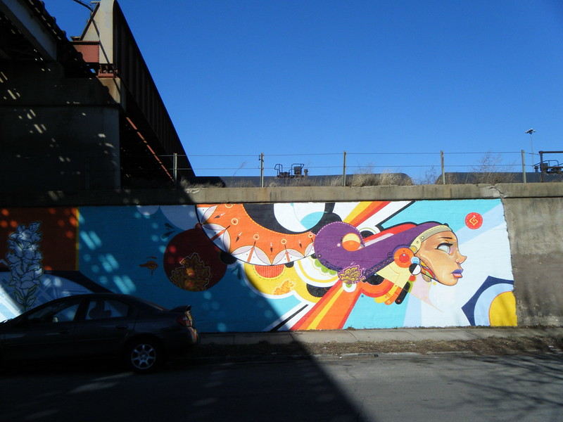 Colourful shapes and head mural