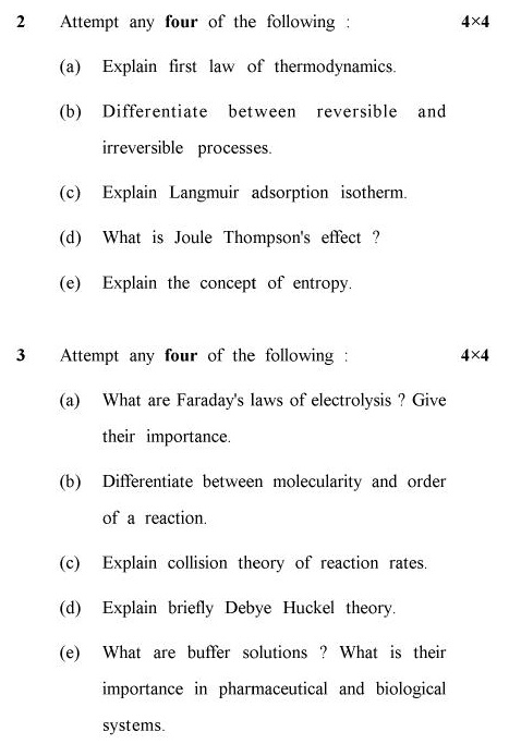 UPTU B.Pharm Question Papers PHAR-121 - Physical Chemistry (Special Carryover Examination)