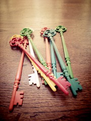 vintage hat pins and key cocktail stirrers