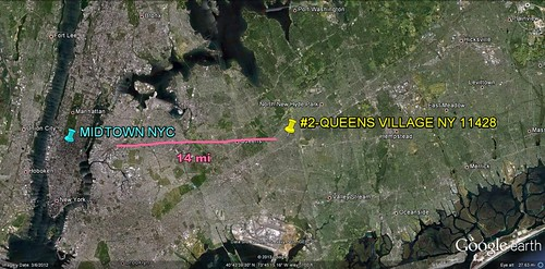 Queens Village in relation to Manhattan (via Google Earth)