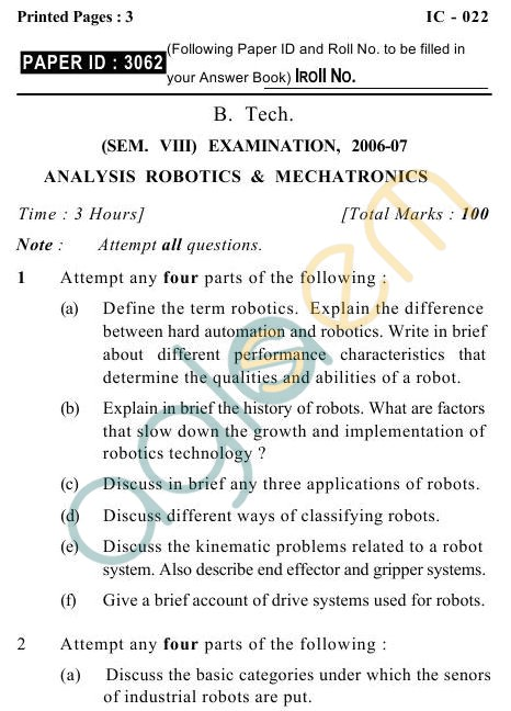 UPTU B.Tech Question Papers -IC-022- Analysis Robotics & Mechatronics