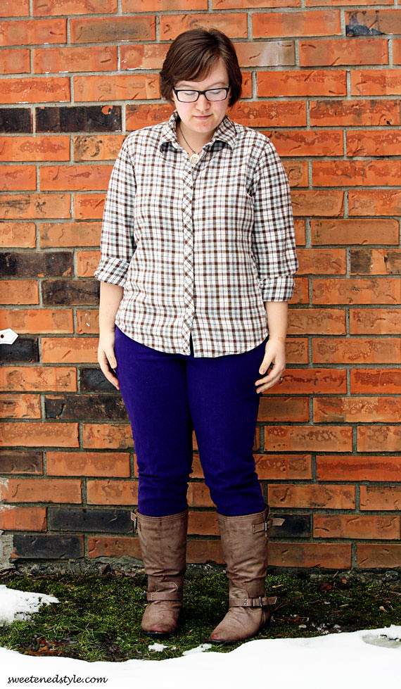 plaid shirt, purple jeans, boots