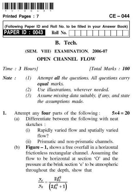 UPTU B.Tech Question Papers - CE-044-Open Channel Flow