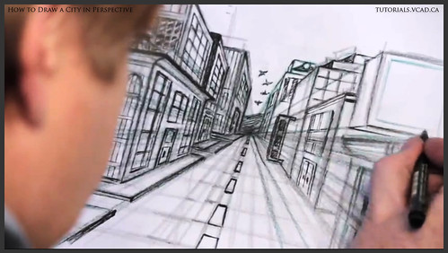 learn how to draw city buildings in perspective 034