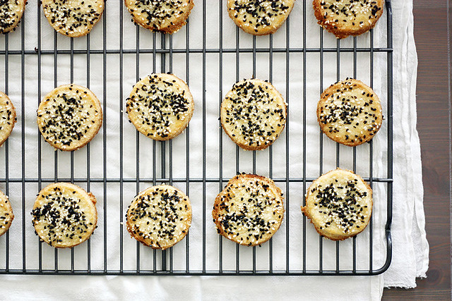 sweet + salty sesame cookies