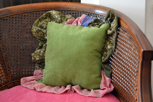 Pillow with Salvaged Fabric