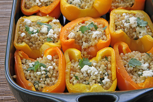 Stuffed Peppers with Feta and Pearled Couscous