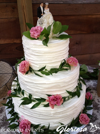 Whipped icing wedding cake