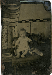 Baby with Hidden Father - Tintype with Naive Background
