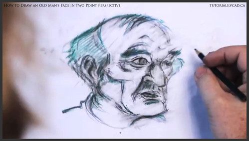 learn how to draw an old man's face in two point perspective 032