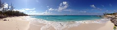 Half Moon Cay, Bahamas: Panorama of Half Moon Beach from the less-visited, northern end