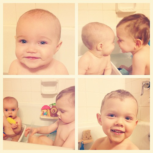 Bathtime fun. #siblinglove #latergram