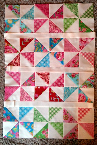 Baby girl pinwheel quilt top