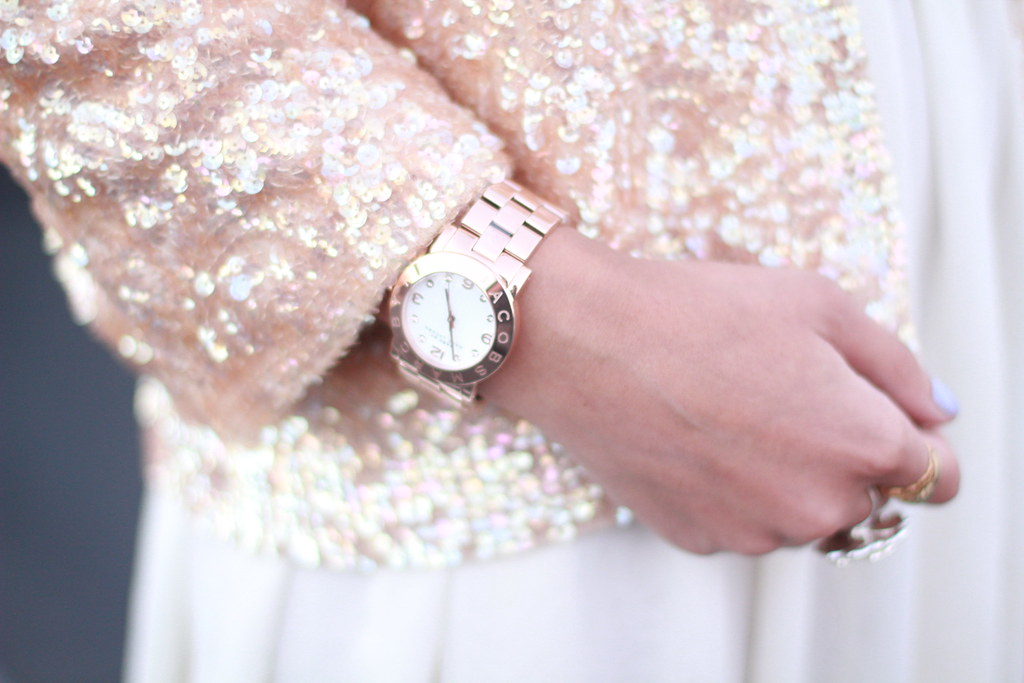 Marc by Marc Jacobs Amy Watch in rose Gold, ivory chiffon skirt, vintage sequin cardigan