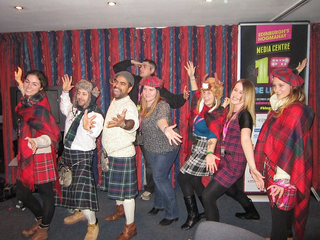 Bloggers in tartan at Edinburgh's Hogmanay