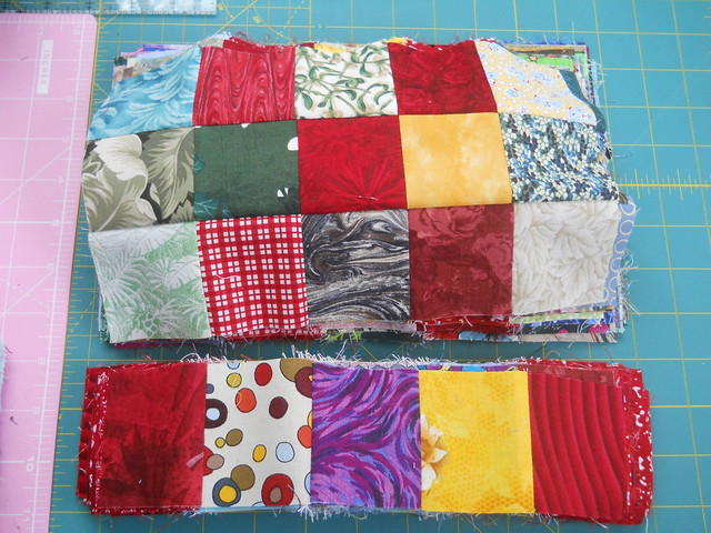 Irish Chain quilt blocks in progress