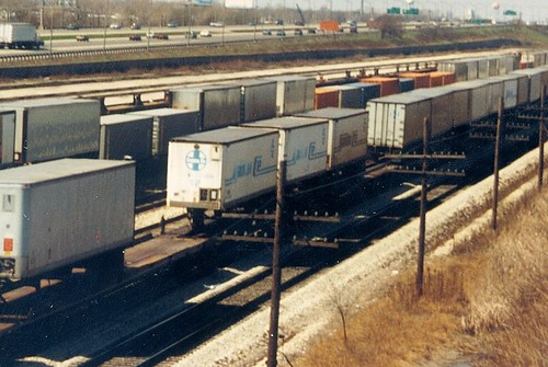 Atchison, Topeka & Santa Fe Railroad intermodal piggyback trains.  Chicago Illinois.  April 1989. by Eddie from Chicago