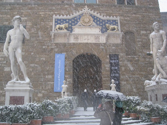 italian winter snow in florence