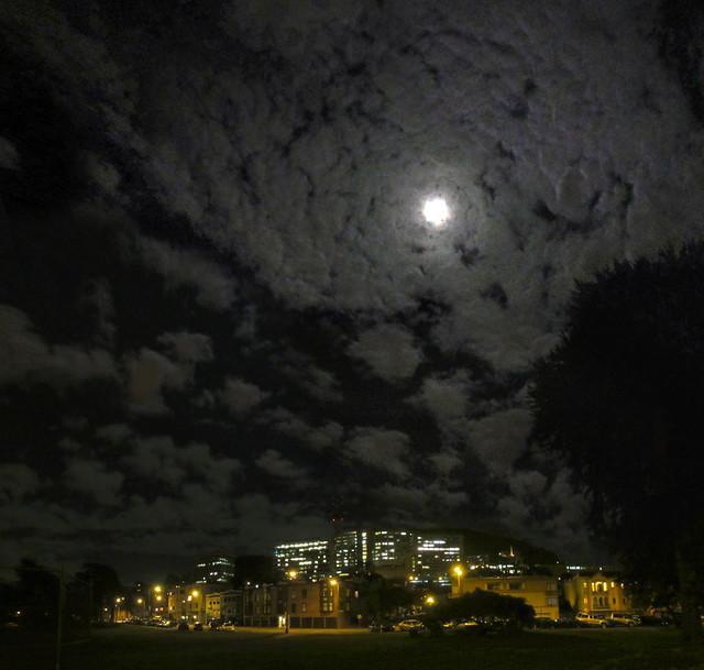 Moon over San Francisco, night.  POV Kezar Triangle (2013)