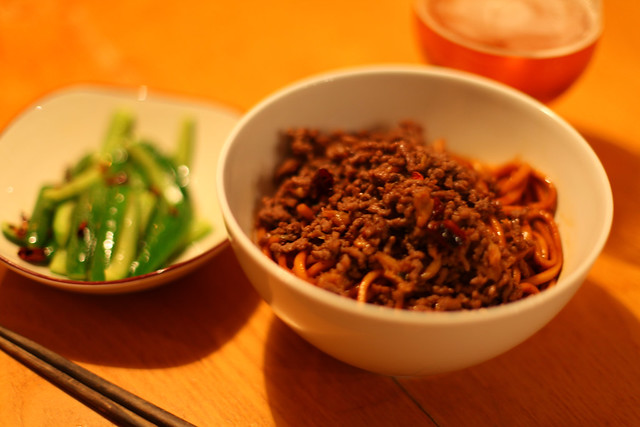 Dan Dan Noodles with spicy cucumber salad | Flickr - Photo Sharing!