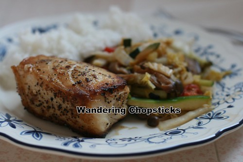 Sea Bass with Mushroom, Cabbage, and Zucchini Stir-Fry 8