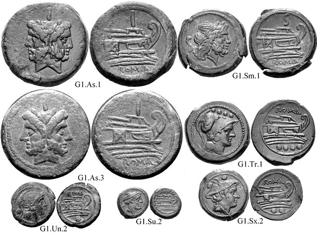 G1 Roman Republican Anonymous struck bronzes McCabe group G1, RRC56 Neat high-relief devices, well-centered on broad flans. Line-bounded bulbous prowstems. Small Janus heads. 40 gram As.