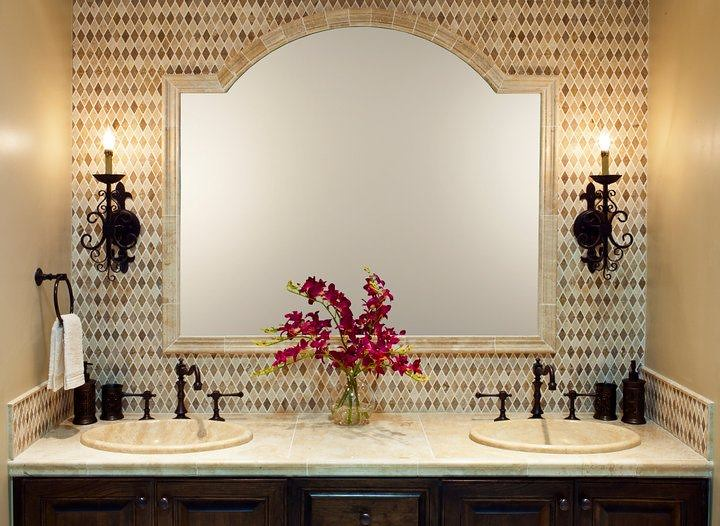 Travertine Tile Design With Chair Rail Framed Mirror
