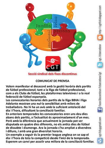 Comunicat CGT @fcbarcelona: reclama canvi horaris partits de futbol per a la conciliació de la vida laboral i familiar